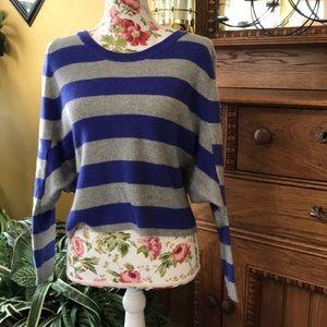 Victoria's Secret Gray with Blue Stripe Sweater